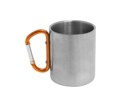 MUG STAINLESS STEEL WITH CARABINER HANDLE